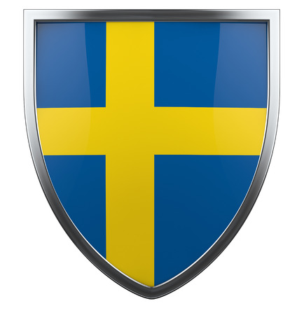 Swedish flag shield isolated icon. photo