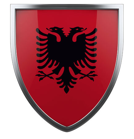 albanian: Albania national flag design element. Stock Photo