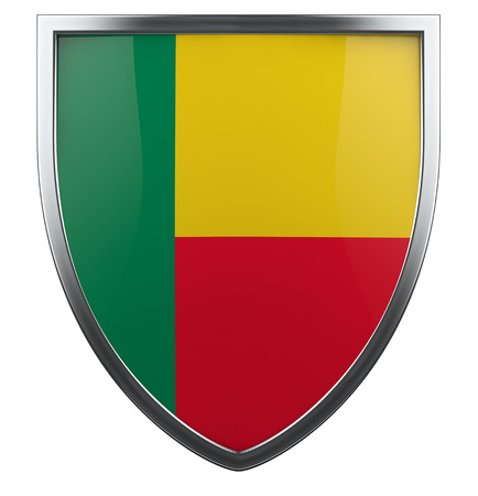 Benin flag shield isolated icon.