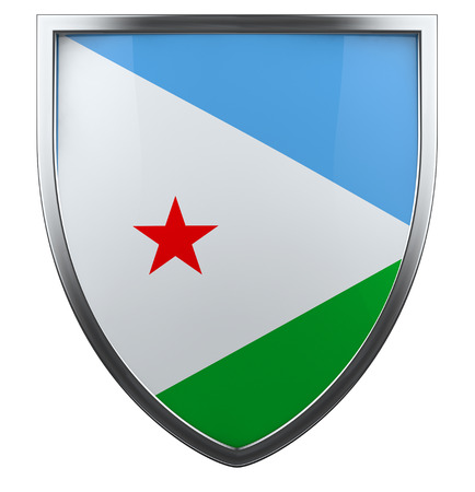 Djibouti flag shield isolated icon.