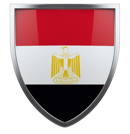 bandera de egipto: Egipto escudo de la bandera aislado icono.