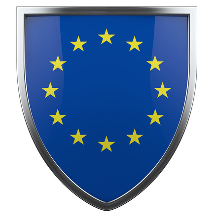 European Union flag shield symbol. Stock Photo