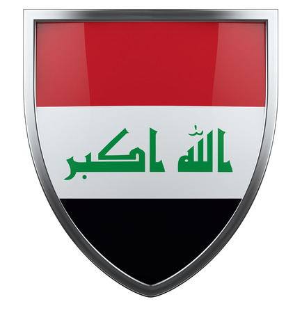 Iraq flag shield isolated icon. photo