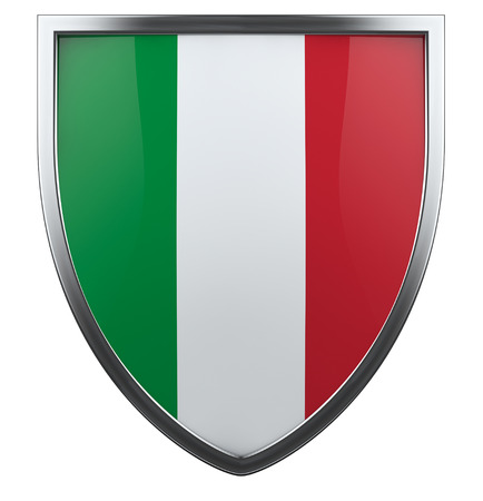 Italy flag shield isolated icon. photo
