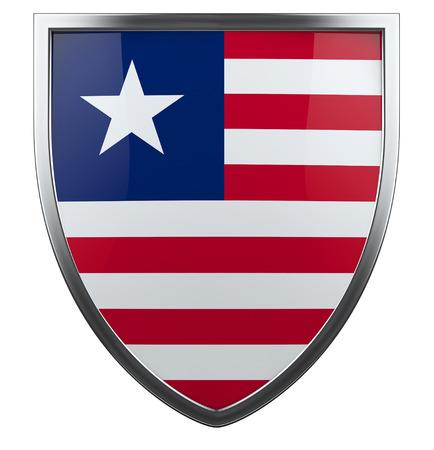 liberia: Liberia flag shield isolated icon. Stock Photo