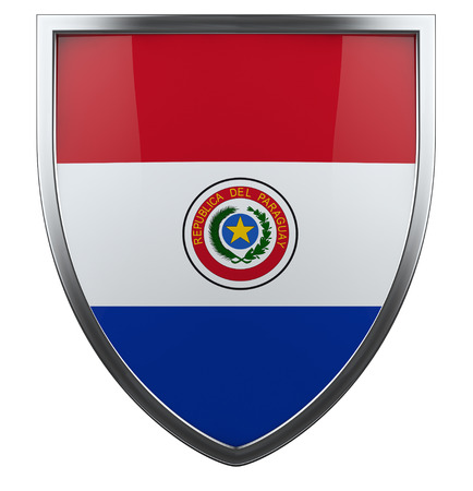 Paraguay flag isolated shield icon. photo