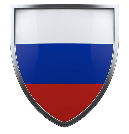 Russia flag shield isolated icon photo