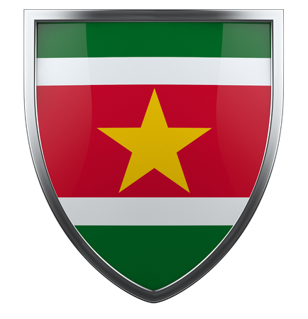 suriname: Suriname flag shield isolted icon.