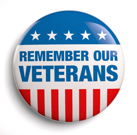 remembrance day: Veterans Day remember badge icon. Stock Photo