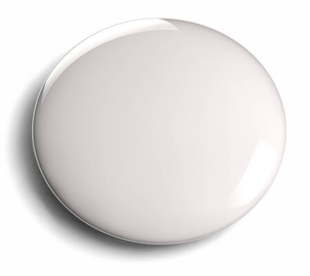 White blank badge button isolated on white