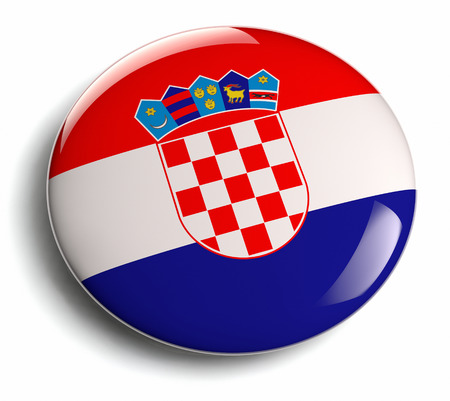 croatian: Croatian flag design badge isolated. Stock Photo