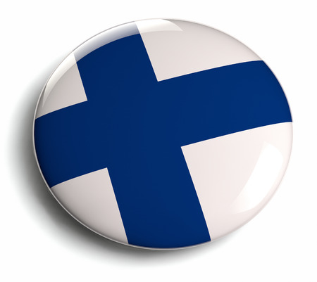 Finland flag icon. Clipping path included. Stock Photo