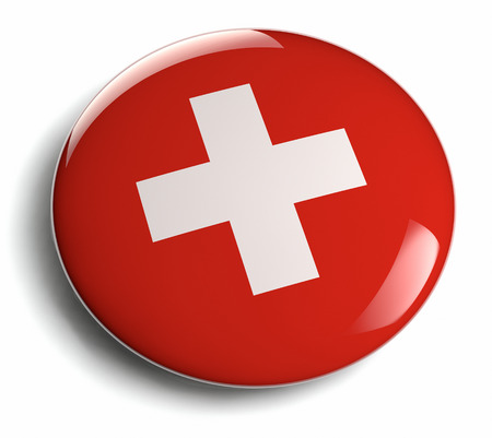 swiss insignia: Swiss flag white cross on red  Clipping path included  Stock Photo