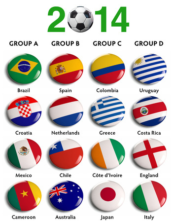 uefa:  2014 Brazil Groups isolated flags