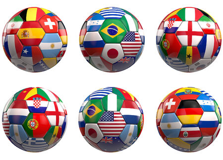 finalists: Football balls of the 2014 finalists county flags