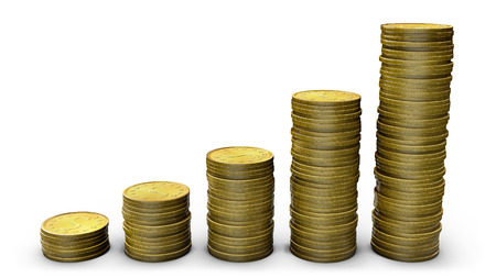 Gold coins showing savings, financial growth, increased profits  Clipping path included for easy selection