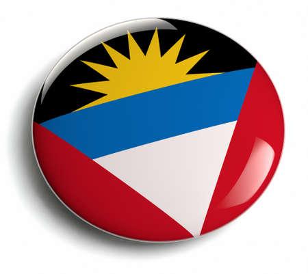 Antigua flag design round badge.