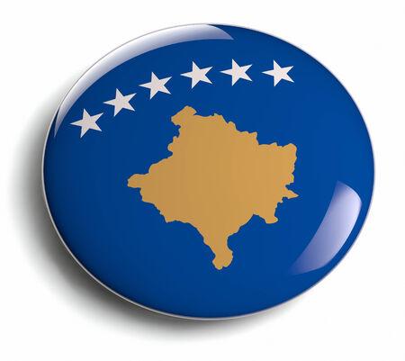 Kosovo flag design round badge.