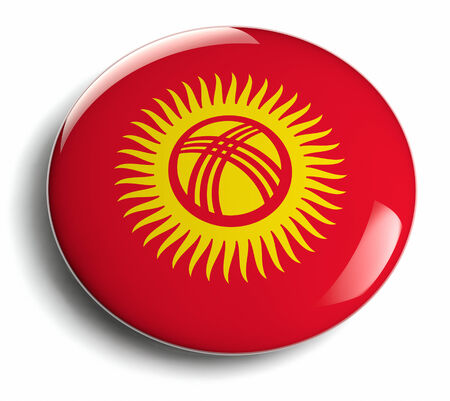 Kyrgyzstan flag design round badge.