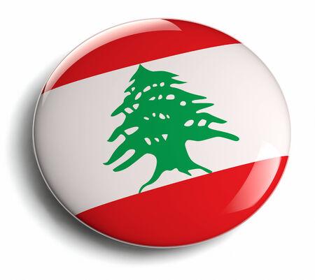 Lebanon flag isolated round badge. photo