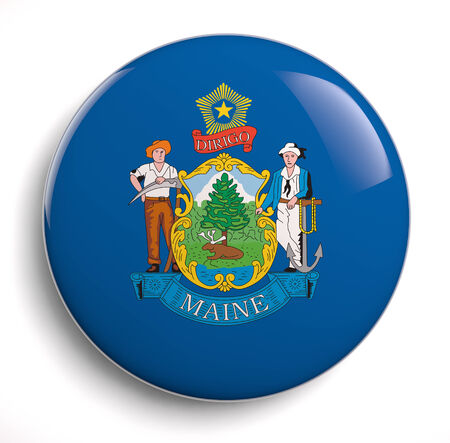 maine: Maine state flag isolated icon. Stock Photo