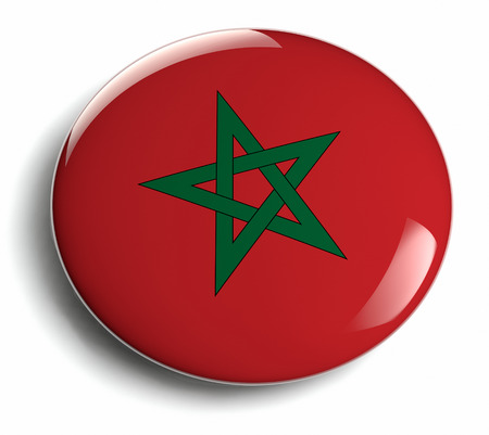 Morocco flag design round badge.