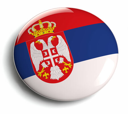 Serbia flag design round badge.