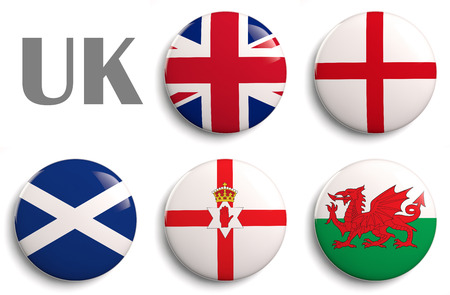 British Isles flags of the United Kingdom countries.   photo