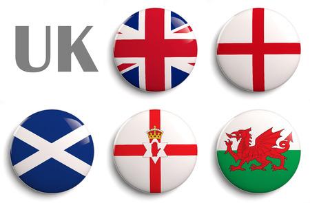 Britse Eilanden vlaggen van het Verenigd Koninkrijk landen. Stockfoto