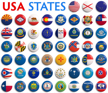 USA American states all flags - alphabetical order