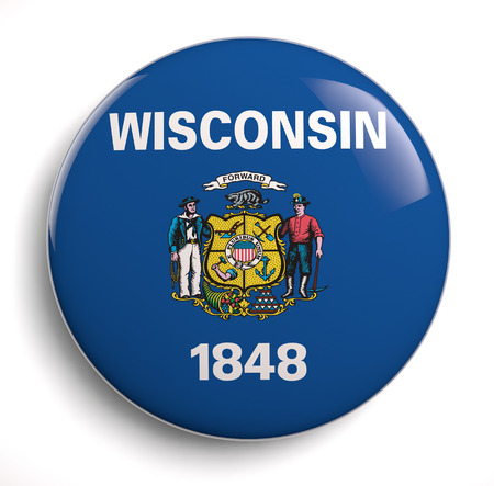 state of wisconsin: Wisconsin state flag isolated icon. Stock Photo