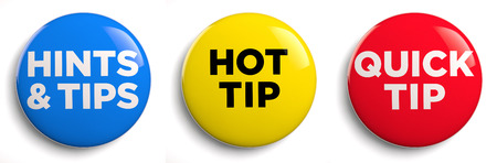 Hot tip and hints and tips icons  Clipping path included