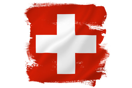 Swiss cross red flag Banque d'images