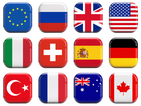 World flags icons set photo