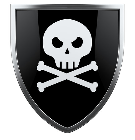 roger: Pirate skull with crossed bones black and white shiled. Stock Photo
