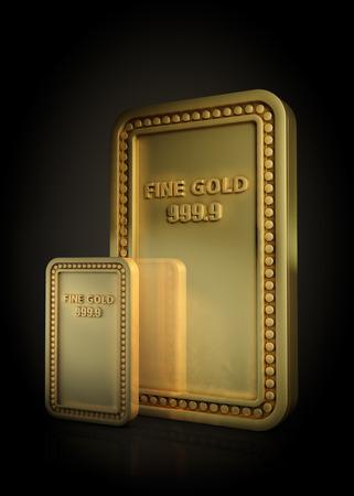 Gold bar set isolated on black background photo