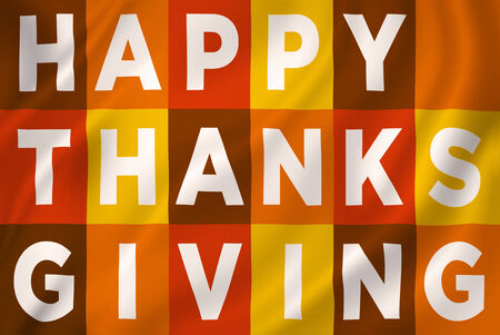 Happy Thanksgiving greeting with text and fall colorful theme. photo