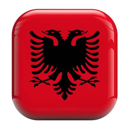 albania: Albania flag square icon image isolated on white Stock Photo