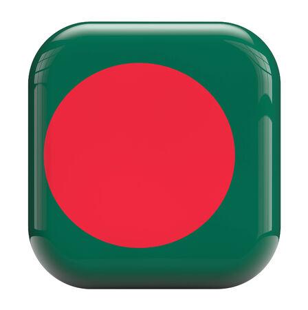 bangladesh 3d: Bangladesh flag square icon image isolated on white