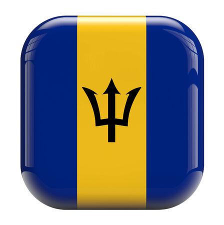 barbadian: Barbados flag square icon image isolated on white