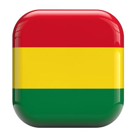 bandera de bolivia: Bolivia bandera imagen Icono cuadrado aislado en blanco