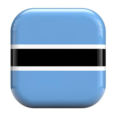 botswana: Botswana flag square icon image isolated on white Stock Photo