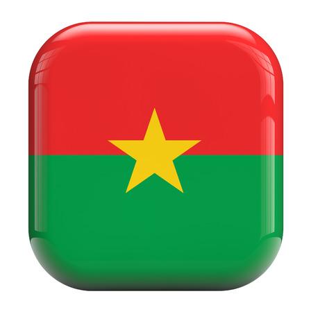 burkina faso: Burkina Faso flag square icon image isolated on white Stock Photo