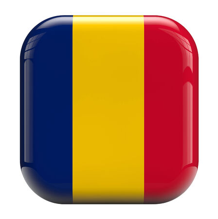chadian: Chad flag square icon image isolated on white Stock Photo
