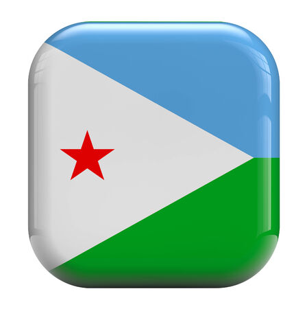 Djibouti flag square icon image isolated on white. Clipping path included.