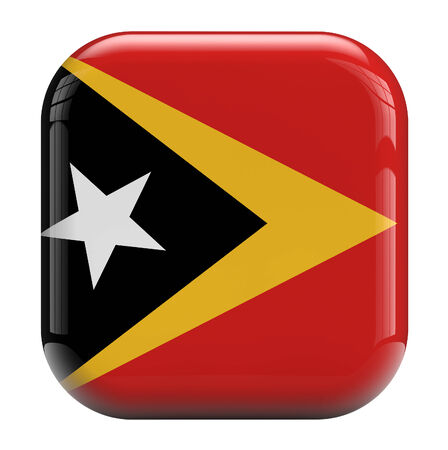 clipping  path: East Timor (Timor-Leste) flag square icon image isolated on white. Clipping path included. Stock Photo