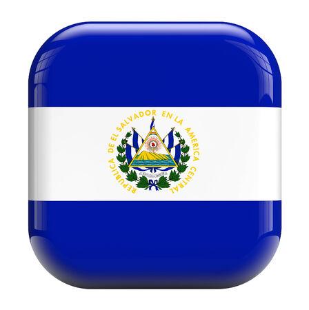 bandera de el salvador: Bandera de El Salvador imagen icono cuadrado aislado en blanco