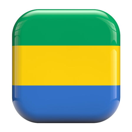 gabon: Gabon flag square icon image isolated on white. Clipping path included.