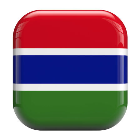 Gambia flag square icon image isolated on white. Clipping path included.