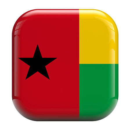 guinea bissau: Guinea Bissau flag square icon image isolated on white